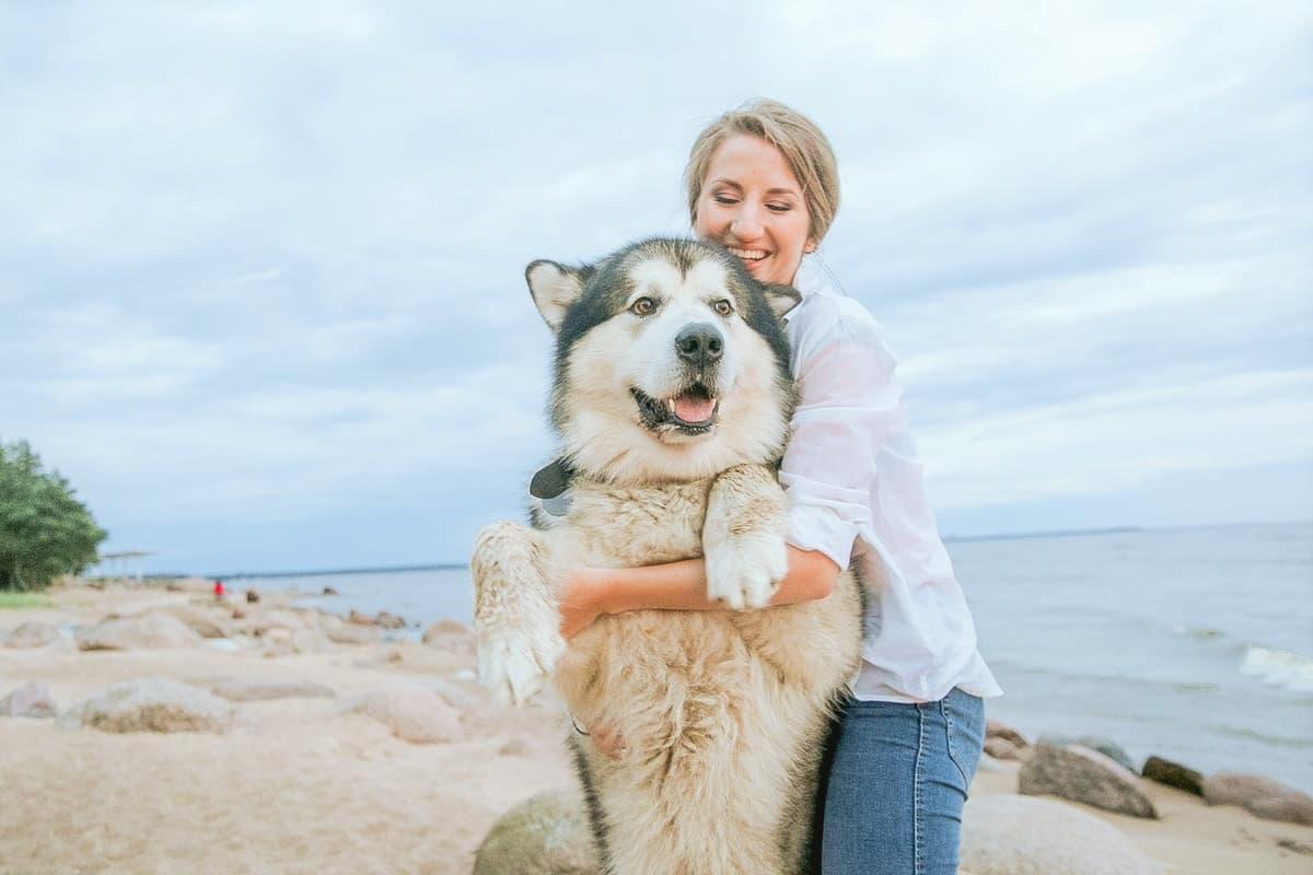 Woman hugging her Siberian Husky rescue